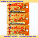 Cartão de perfuração com cartão combinado de código de barras para supermercado