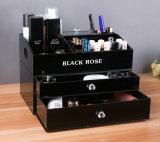 Organizador de acrílico negro de la joyería del maquillaje de la encimera