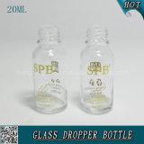 20ml leeren transparente kosmetische Glastropfenzähler-Flasche für Hyaluronic Säure