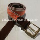 Brown cuir tanné et de polyester et de la courroie de transmission avec l'or Boucle de ceinture
