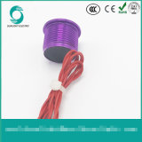 Interruttore piezo-elettrico momentaneo normalmente aperto piano anodizzato viola di Flyingleads 200mA 24VAC/DC dell'operatore di Ws167f1nom IP68 16mm