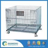 Transporte de empilhamento de aço dobrável Recipiente de malha de arame