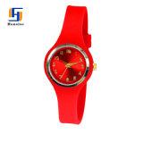Soem-kundenspezifisches Firmenzeichen-Silikon-analoge Quarz-Uhr mit hellem Sunray Vorwahlknopf