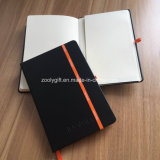 Stamped Logo Black PU Leather Moleskine Agenda Journals Notebook