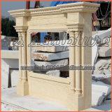 Cornija de lareira da chaminé do estilo da coluna/chaminé de mármore bege Surroundmf1711