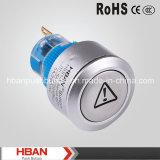 CE RoHS Hban (22mm) de cierre momentáneo con pulsador de símbolo peligroso