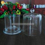 Sostenedor de vela de cristal de cristal claro de la campana de cristal de la bóveda