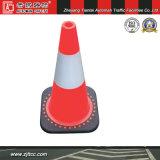"""12"""" en PVC souple réfléchissant la sécurité du trafic cône avec base noire (CC-PV30)"""