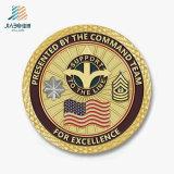 A annoncé le médaillon de pièce de monnaie d'enjeu de militaires plaqué par or en métal avec l'émail mol