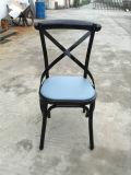 椅子を食事する小枝棒ビストロの黒の金属Xの背部工業デザイン