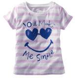 """Fille du Shirt Kid's Graphic """" sourire """" Stripe T-shirt G26"""