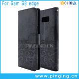 SamsungギャラクシーS8端のための札入れの革フリップカバーケース