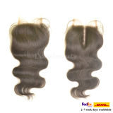 Fermeture onduleuse noire normale brésilienne de dessus de lacet de cheveux humains de Vierge pleine