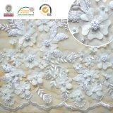 Flor requintado do bordado 3D do laço do vestido de casamento com grânulos 129