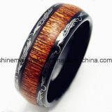 Glans me de Juwelen Ingelegde Houten Zwarte Ring van het Carbide van het Wolfram van het Plateren