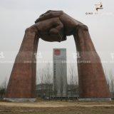 Grande main forme Sculpture en bronze patiné