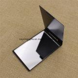 Plegado cuadrado espejo compacto de bolsillo de aluminio con logotipo personalizado