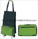Sac pliable réutilisable portatif de chariot à achats de traitement avec des roues
