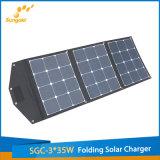 Carregador flexível portátil do painel 3*35W solar de Sunpower com suporte