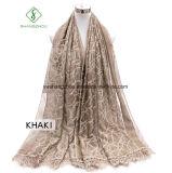 Dame 2017 Fashion Silk Scarf mit Farbband-Stickerei-Spitze-Schal