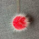 白い針のキーホルダーが付いているのどのキツネの毛皮POM