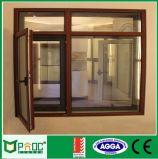 Hölzernes Korn-Aluminiumrahmen Windows Pnoc0017cmw schwenkbar gelagert/Flügelfenster
