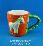 Tazza di verdure di ceramica dipinta a mano con la decorazione del cavallo