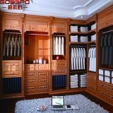Promenade dans la garde-robe en bois découpée de cabinet d'Armoires avec les tiroirs (GSP17-025)