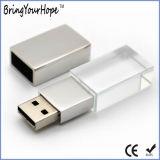 Lecteur flash USB en cristal transparent avec le logo d'éclairage LED (XH-USB-089)