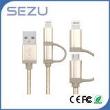 Fabrik direkt 2 in 1 Mfi Diplom-USB Aufladung und Daten geflochtenes Kabel für iPhone und Android (Gold)