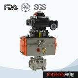 Шариковый клапан нержавеющей стали санитарный пневматический трехходовой с переключателем предела (JN-BLV2002)