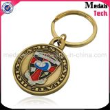 Round Shape Wholesale High Quality Antique Gold Metal Keychain