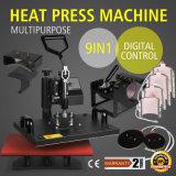 9 en 1 Transferencia de Calor de peine digital Máquina de prensa para T-Shirt