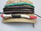 Cuero, granos de madera, poliéster cables de sistema de la pulsera, joyería de imitación Pulsera De Hombres