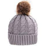毛皮POM POMが付いている手のニットの帽子の帽子の帽子Headwear