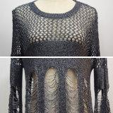 La mujer sexy hueco roto suéter de manga larga