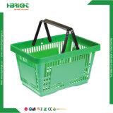 28L Plastic Double Handle Supermarket Basket for Shops