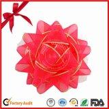 Impreso de Navidad de la cinta roja hermosa de la estrella del arco