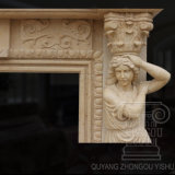 Figura calda scultura del marmo di vendita del camino di marziale beige dell'Egitto