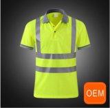 Chemises de polo fonctionnantes jaunes salut de réflecteur fait sur commande de force pour les hommes