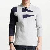 chemise de polo du long homme de chemise estampé par coutume de qualité