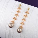 Boucles d'oreille de perle en cristal d'or du cadeau 18K de mode longues
