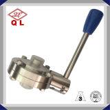 Válvula de borboleta inoxidável sanitária do punho do aço 304 e 316 de produto comestível