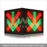 Sinal de piscamento vermelho da estação do pedágio da seta 600mm do verde da cruz