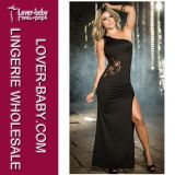 Vestito lungo nero dal randello del merletto di sera (L51302-1)