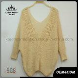 Dolman袖深いVの首によって編まれるセーターのカジュアル衣類