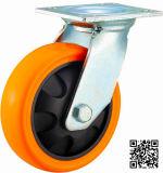 4/5/6/8インチの頑丈なオレンジPUの足車の車輪の産業旋回装置PUの足車