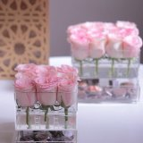 Rectángulo de regalo de lujo de acrílico claro modificado para requisitos particulares de la flor de Rose con la tapa