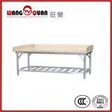 Tabella di lavoro superiore di legno con la base dell'acciaio inossidabile