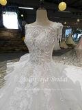 Bling白い3Dのレースの背部が開いたウェディングドレス